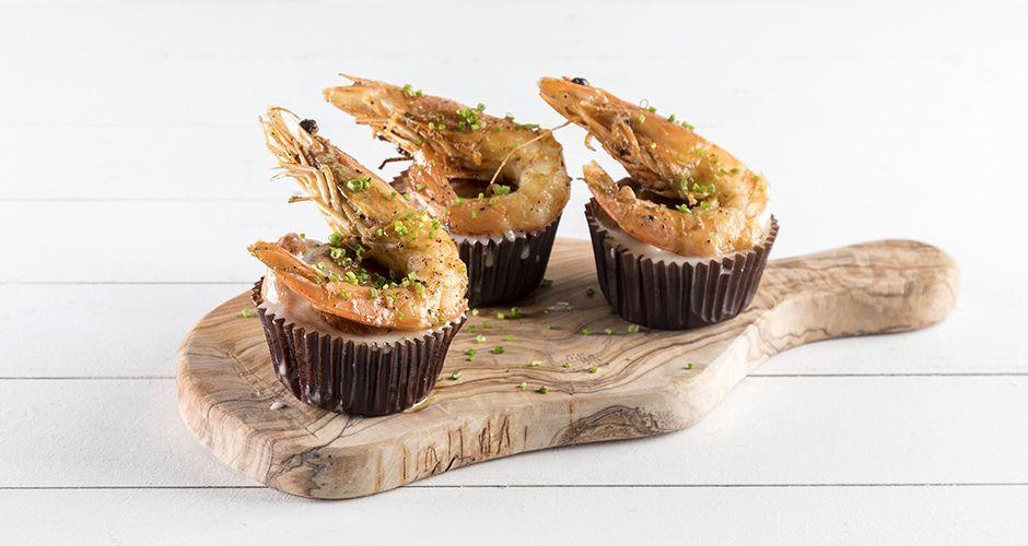 Savory shrimp cupcakes
