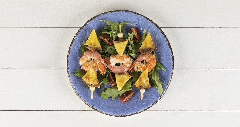 Shrimp and pineapple souvlaki