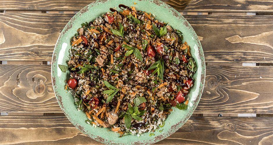Lentil, tuna and rice salad