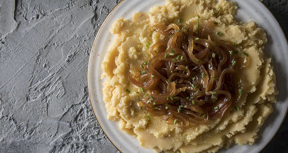 Greek Fava (Yellow split pea puree) with caramelized onions