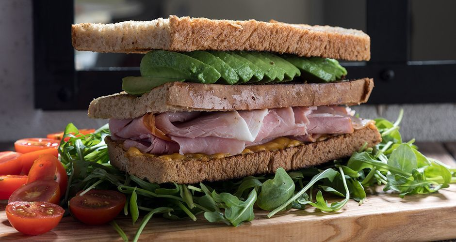 Ham, cheese and avocado sandwich