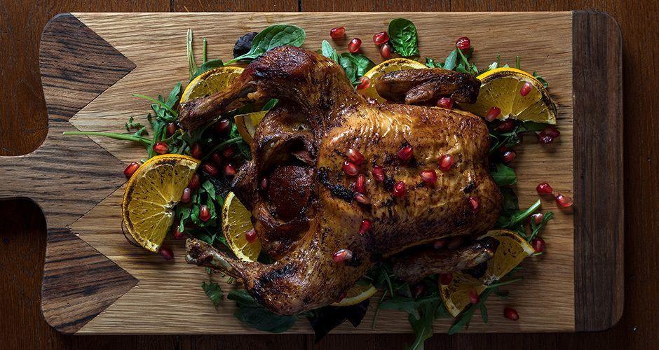 Ψητό κοτόπουλο με χριστουγεννιάτικα μπαχαρικά