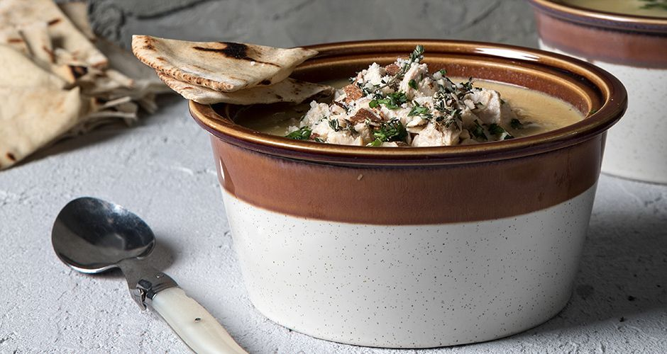 Chicken soup with pita bread