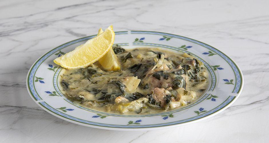 Greek pork and celery stew