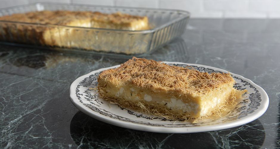 Cheese pie with a shredded phyllo crust