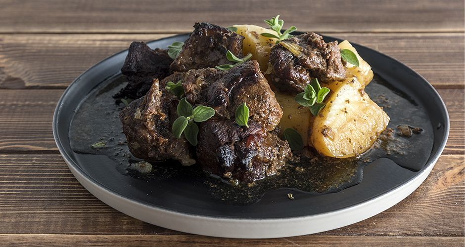 Roast wild boar with potatoes