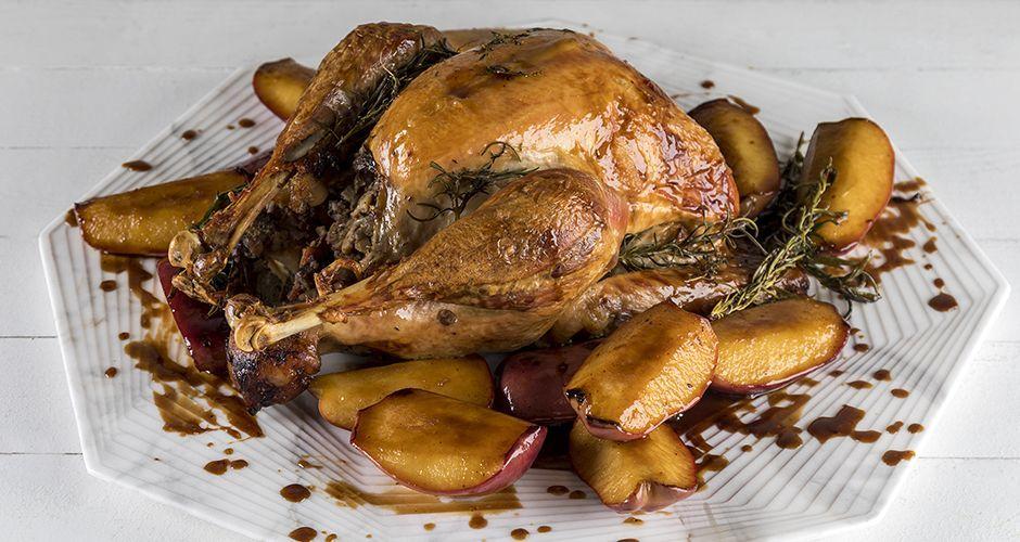 Turkey with chestnut-apple stuffing