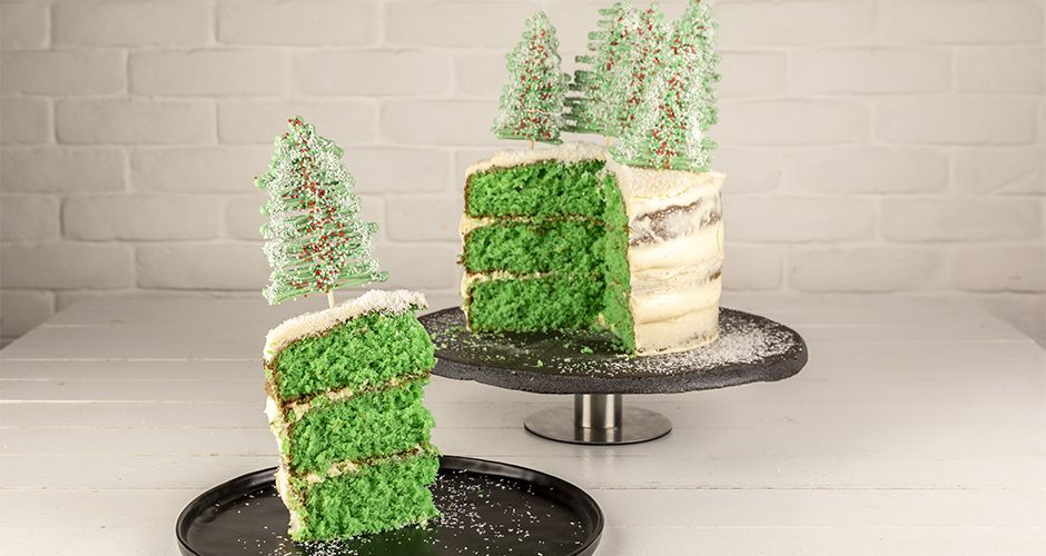 Christmas cake with trees