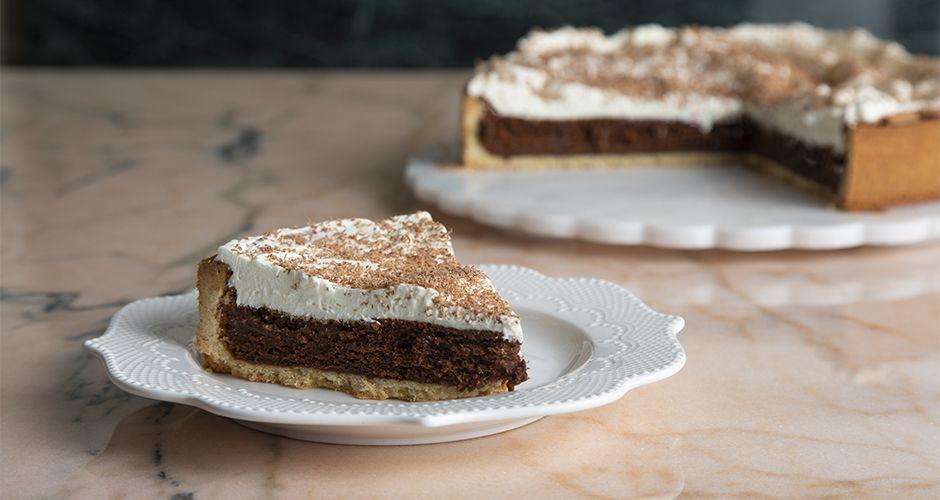 Chocolate and caramel soufflé tart