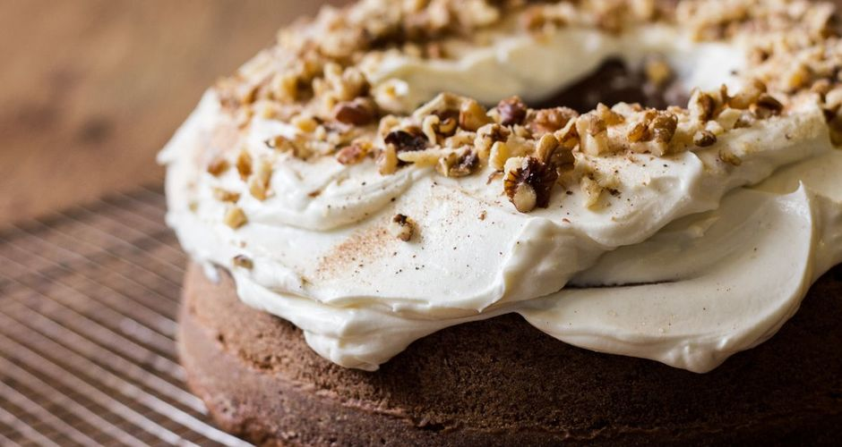 Pumpkin Ginger Cake with Maple Walnut Frosting