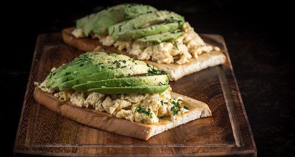 Avocado toast with scrambled eggs