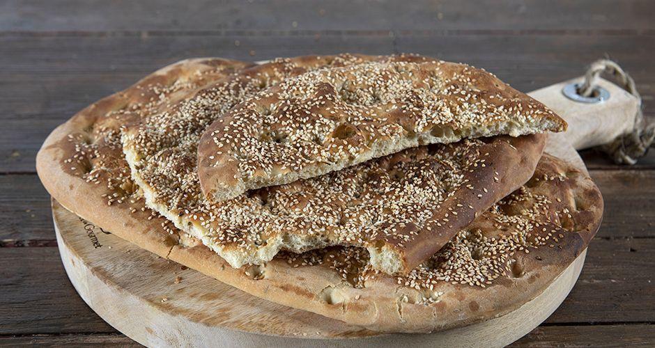 Greek sesame flatbread with ouzo – Lagana