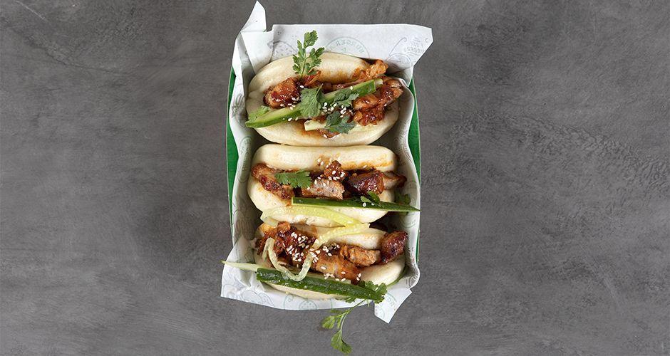 Caramelized pork belly bao buns