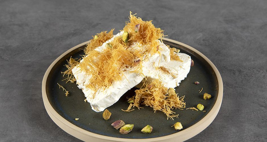 Ice cream with shredded phyllo