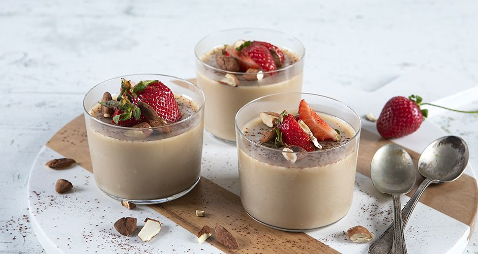 Almond milk and coffee panna cotta