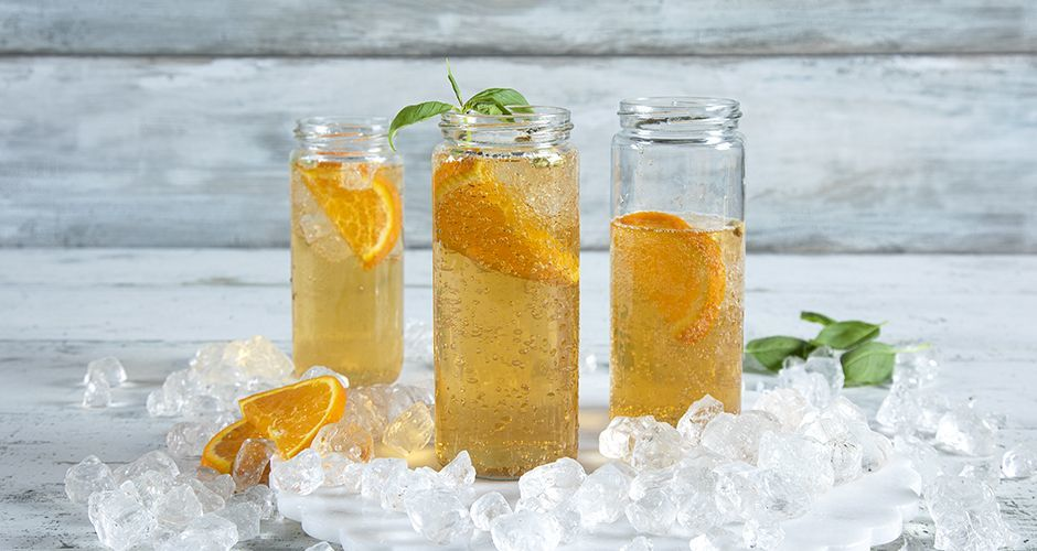 Orange iced tea cocktail