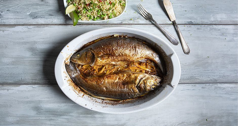 Sea bass with couscous and vegetables