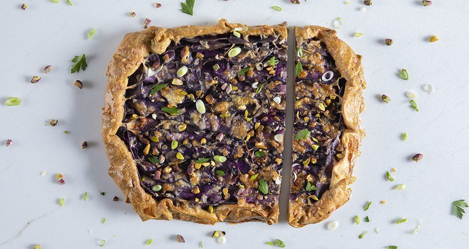 Open-faced purple potato pie