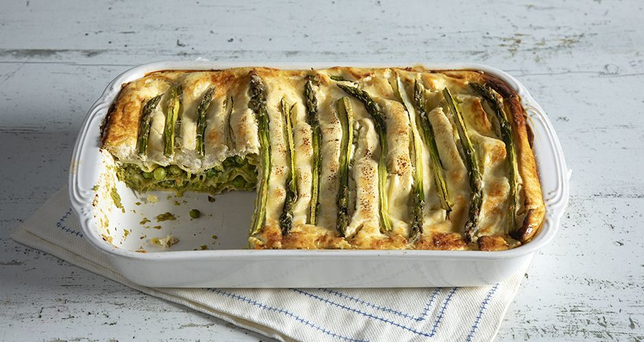 Sweet peas and asparagus lasagne