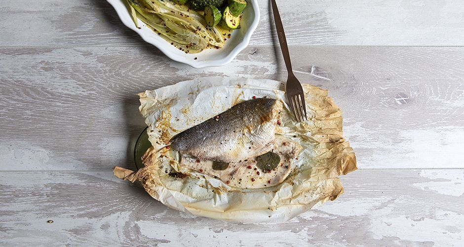 Sea bass in parchment (en papillote)