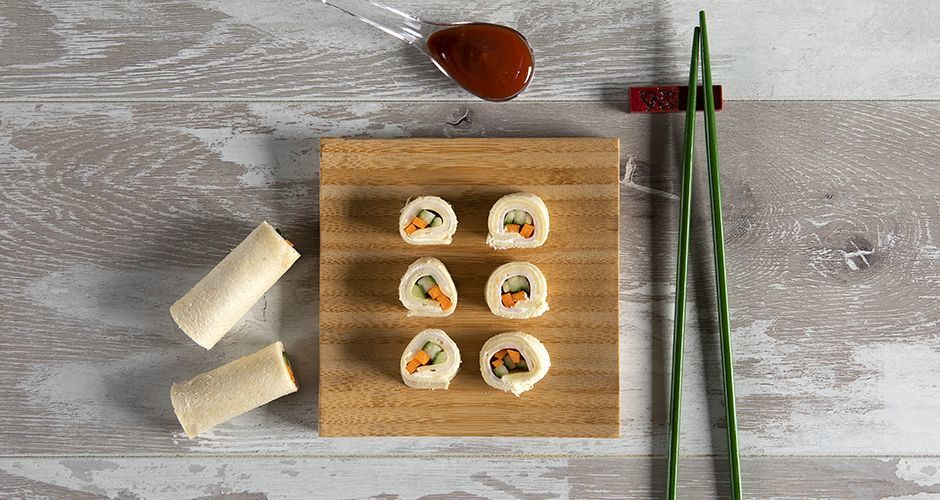 "Turkey and cheese ""sushi"" rolls"
