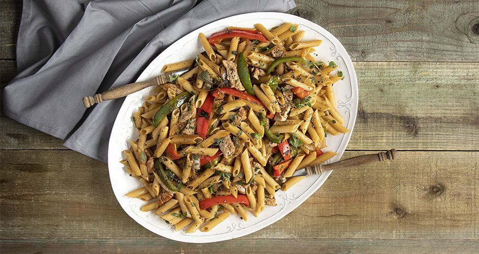 Healthy penne with pork tenderloin (high protein)