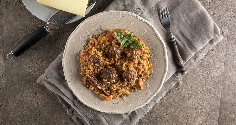 Meatball and orzo casserole