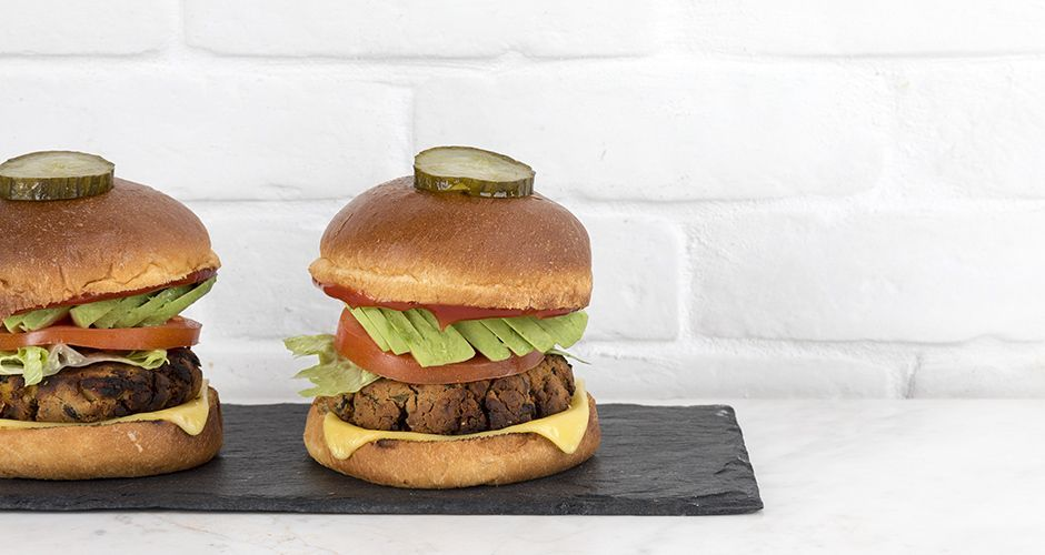 Vegan burger με μανιτάρια
