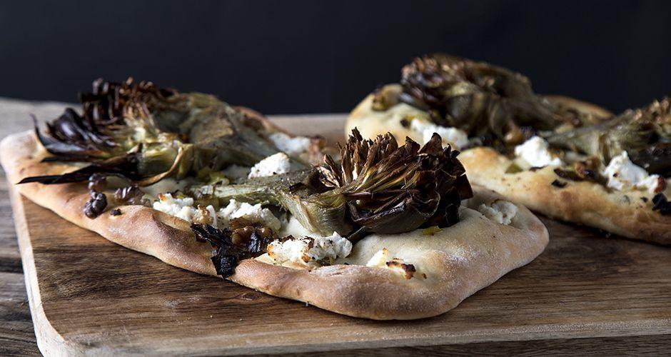 Roasted artichoke flatbreads