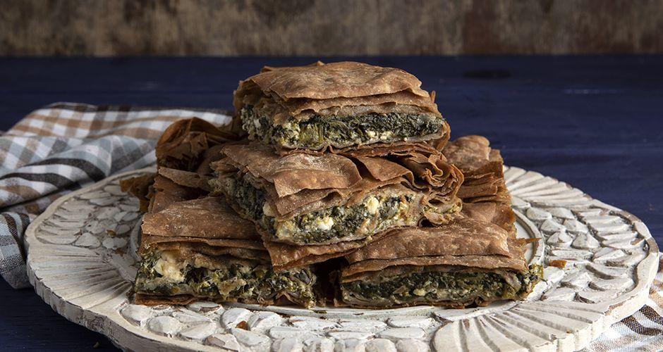 Greek pie with greens feta and yogurt