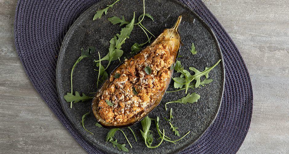 Greek chicken stuffed eggplants