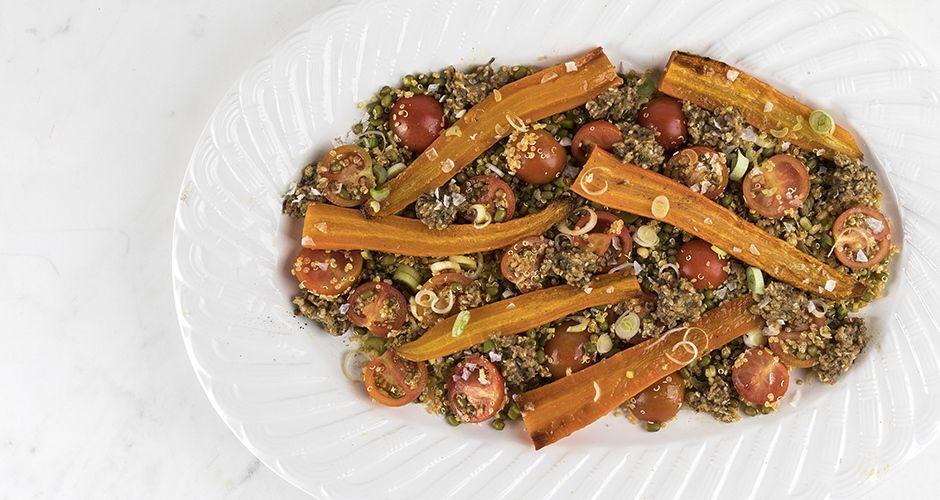 Roasted carrot, mung bean and quinoa salad