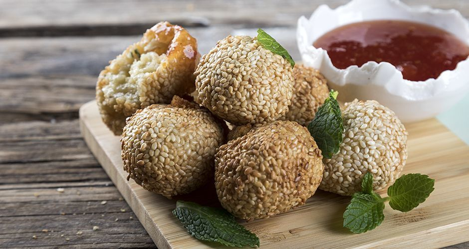 Sesame cheese croquettes with tomato jam