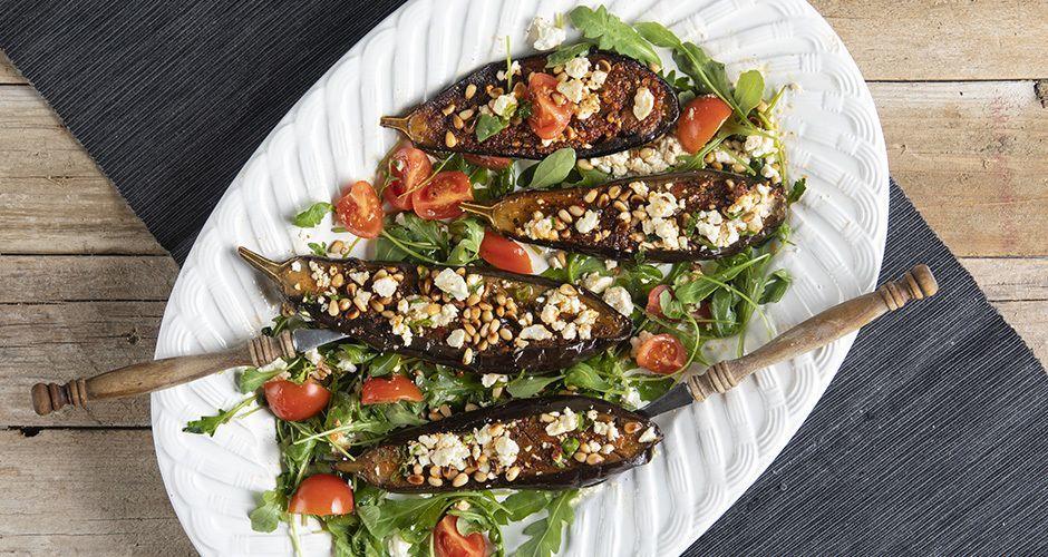 Harissa eggplant halves