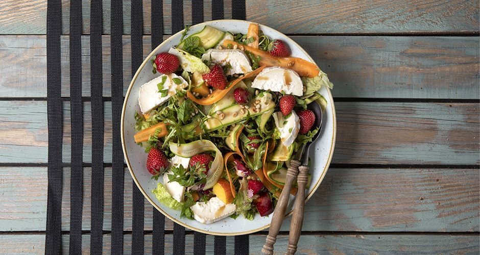 Summer fruit and goat cheese salad