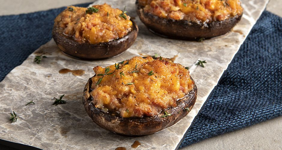 Stuffed mushrooms with sausage and cheese