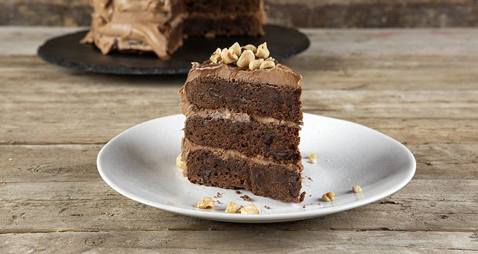 Brownie cake with chocolate hazelnut frosting
