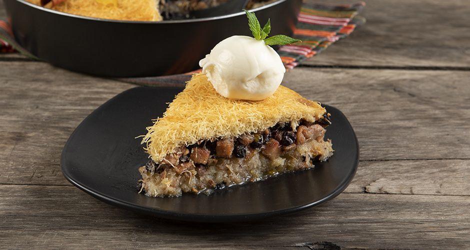 Apple pie with shredded phyllo crust