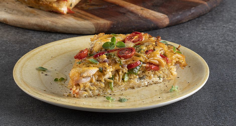Healthy chicken and pasta frittata (high protein)