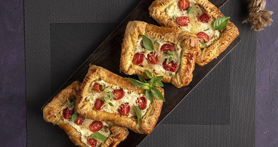 Cherry tomato and ricotta puff pastry tarts