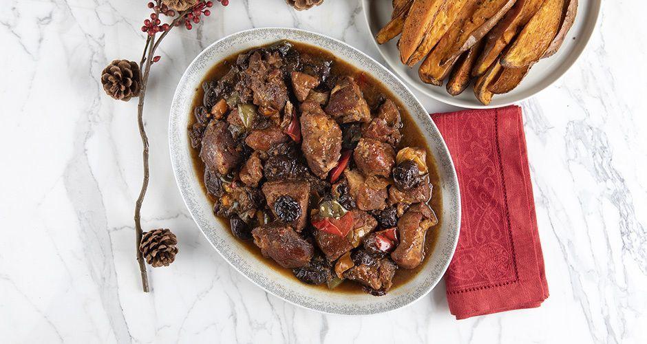 Roast pork loin with prunes