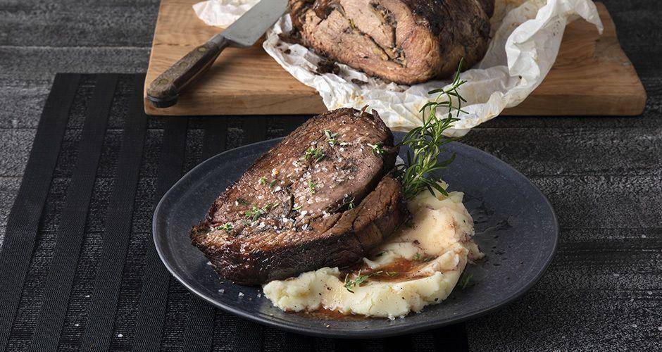 Mushroom and cheese-stuffed beef roast