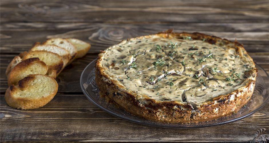 Savory mushroom cheesecake