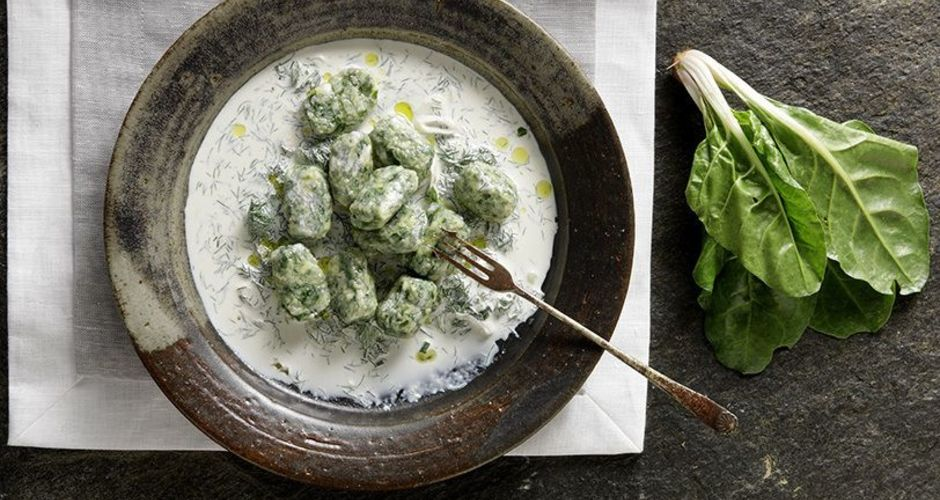 Spinach and Feta Cheese Nudi in a White Cream Sauce