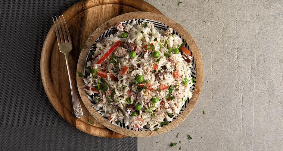 Ρυζοσαλάτα με λαχανικά και τόνο