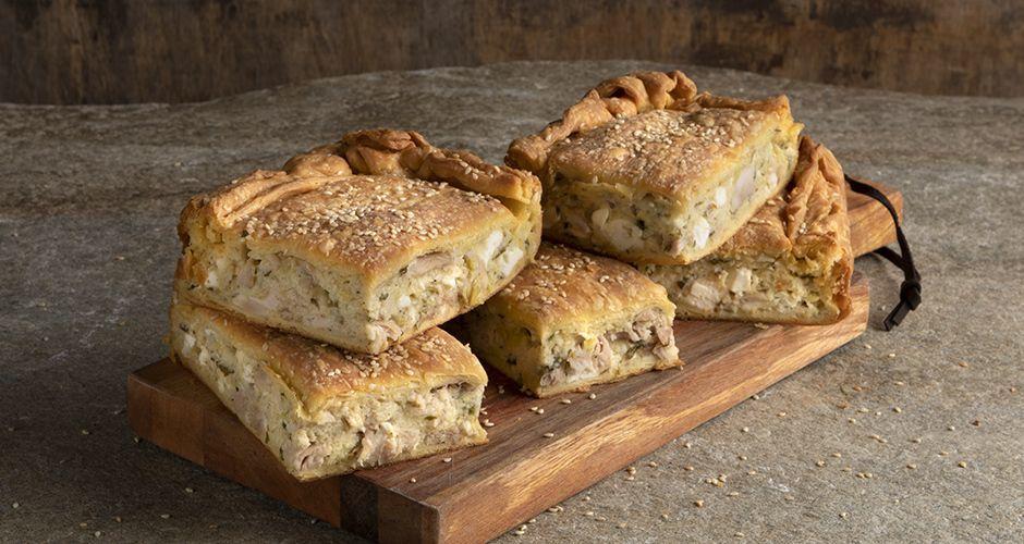 Greek chicken pie with kourou dough
