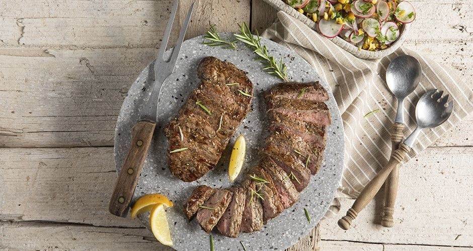 Beef sirloin steaks with radish salad