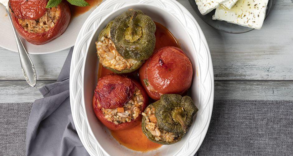 Greek-style stuffed vegetables with tuna