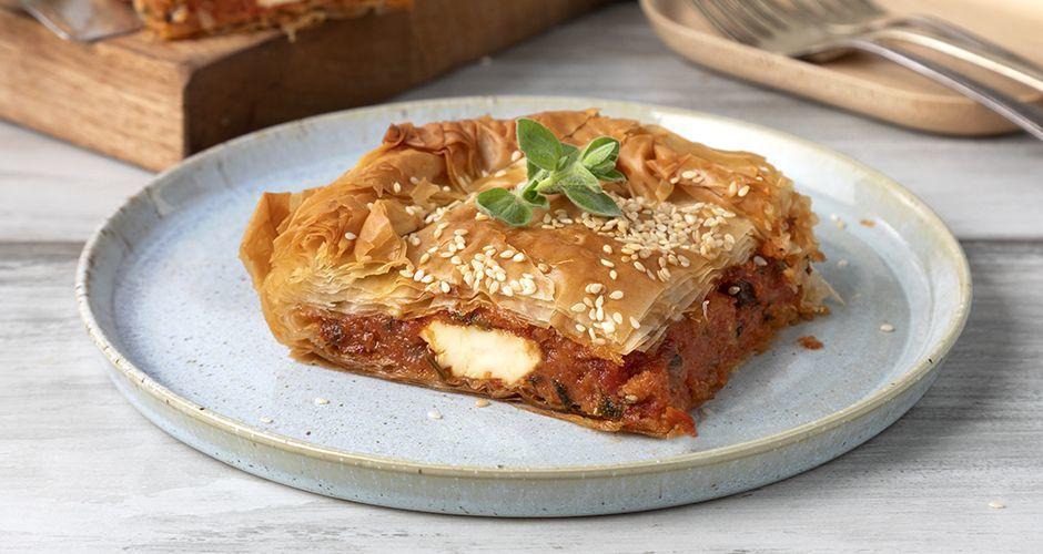 Greek-style tomato pie with feta
