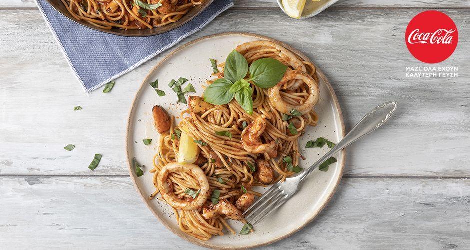 Greek-style seafood pasta